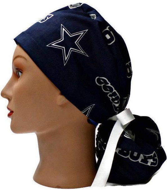 Women's Adjustable Ponytail Surgical Scrub Hat Handmade with  Dallas Cowboys Navy fabric
