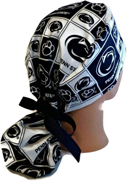 Women's Adjustable Ponytail Surgical Scrub Hat Cap Handmade with  Penn State Nittany Lions Squares fabric