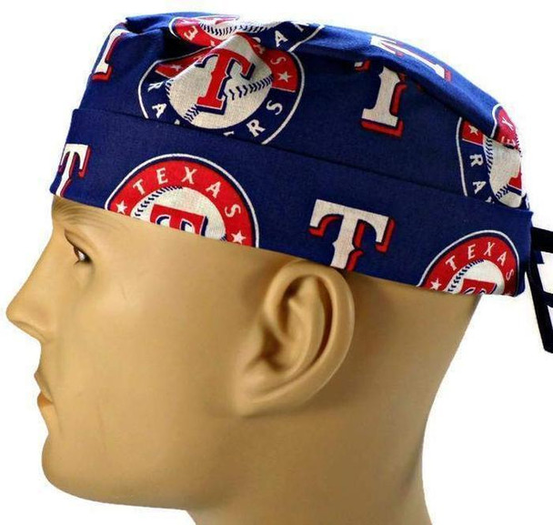 Men's Semi-Lined Fold-Up Cuffed (shown) or No Cuff Surgical Scrub Hat handmade with  Texas Rangers fabric