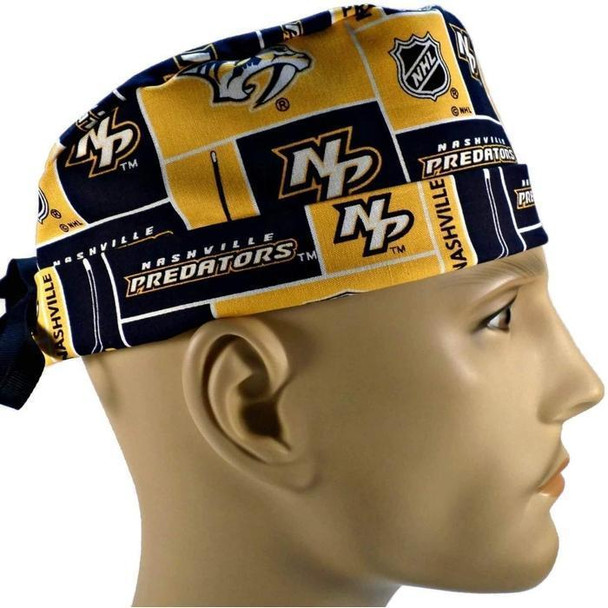 Men's Semi-Lined Fold-Up Cuffed (shown) or No Cuff Surgical Scrub Hat Handmade with  Nashville Predators fabric