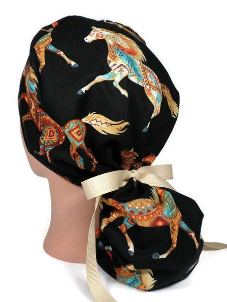 Women's Adjustable Ponytail Surgical Scrub Hat Cap Handmade with  Southwest Horses Out West fabric