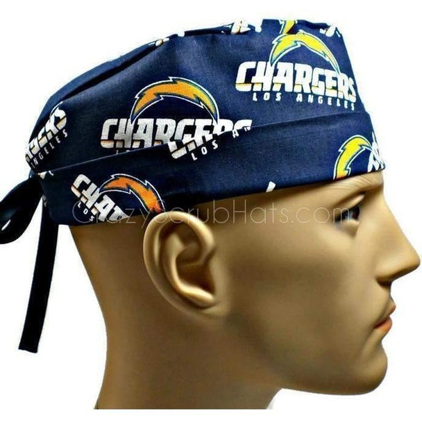Men's Adjustable Fold-Up Cuffed or Un-Cuffed Surgical Scrub Hat Cap handmade with Officially Licensed LA Chargers fabric