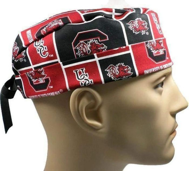 Men's Adjustable Fold-Up Cuffed or Un-Cuffed Surgical Scrub Hat Cap handmade with Officially Licensed South Carolina Gamecocks Squares fabric
