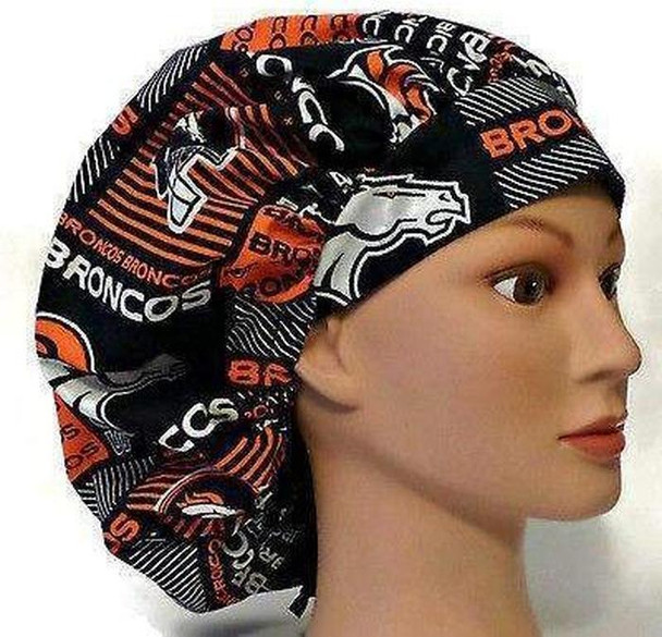 Women's Adjustable Bouffant, Pixie, or Ponytail Surgical Scrub Hat Cap handmade with Officially Licensed Denver Broncos Squares fabric
