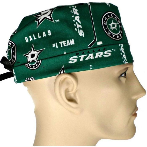 Men's Adjustable Fold-Up Cuffed or Un-Cuffed Surgical Scrub Hat Cap Handmade with  Dallas Stars Fabric fabric
