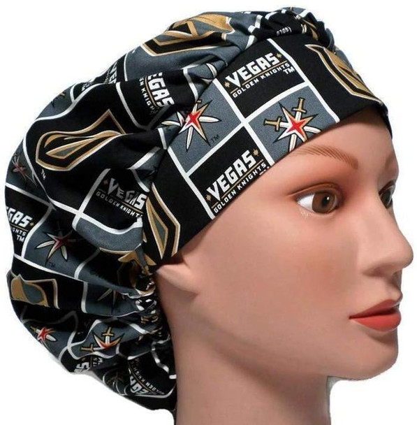 Women's Adjustable Bouffant Surgical Scrub Hat Cap handmade with Officially Licensed Vegas Golden Knights fabric w/ elastic and cord-lock