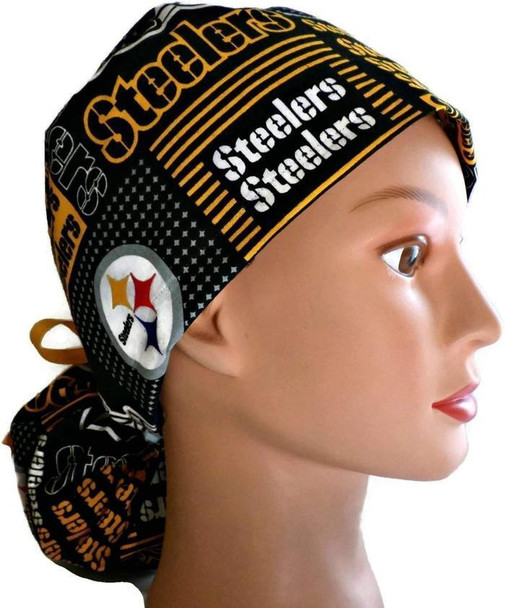 Women's Adjustable Ponytail Surgical Scrub Hat Cap handmade with Officially Licensed Pittsburgh Steelers Squares fabric