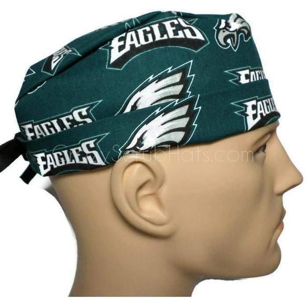 Men's Adjustable Fold-Up Cuffed or Un-Cuffed Surgical Scrub Hat Cap Handmade with  Philadelphia Eagles fabric
