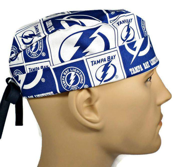 Men's Adjustable Fold-Up Cuffed or Un-Cuffed Surgical Scrub Hat Cap handmade with Officially Licensed Tampa Bay Lightning fabric