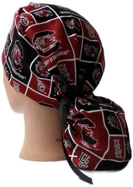 Women's Adjustable Ponytail Surgical Scrub Hat Cap handmade with Officially Licensed USC Gamecocks Squares fabric