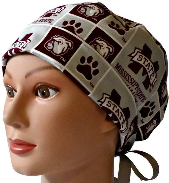 Women's Adjustable Fold-Up Pixie Surgical Scrub Hat Cap handmade with Officially Licensed Mississippi Bulldogs Squares fabric