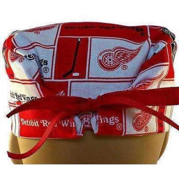 Men's Semi-Lined Fold-Up Cuffed (shown) or No Cuff Surgical Scrub Hat Handmade with  Detroit Redwings Squares fabric