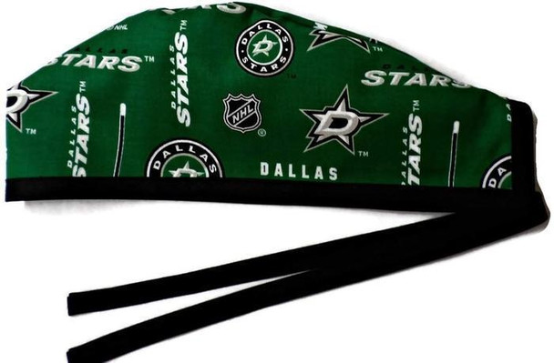 Men's Unlined Surgical Scrub Hat Cap Handmade with  Dallas Stars fabric
