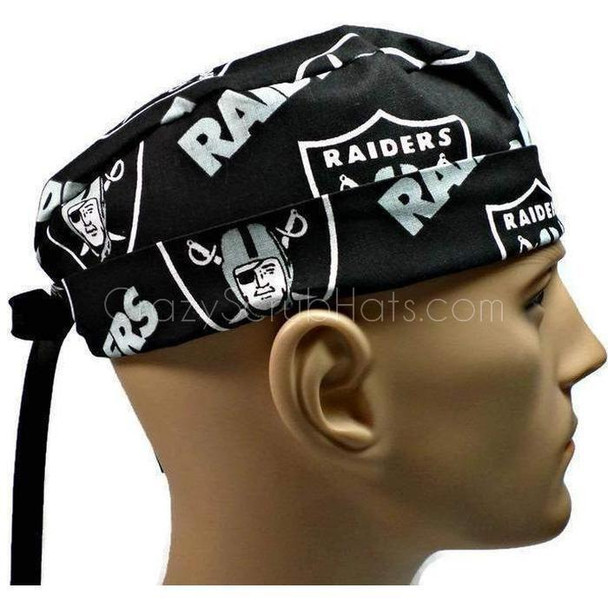 Men's Adjustable Fold-Up Cuffed or Un-Cuffed Surgical Scrub Hat Cap handmade with Officially Licensed Oakland Raiders Black fabric