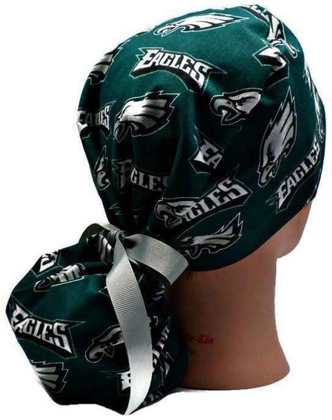Women's Adjustable Ponytail SurgicalScrub  Hat Cap handmade with Officially Licensed Philadelphia Eagles fabric
