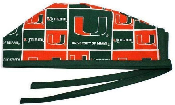 Men's Unlined Surgical Scrub Hat Cap Handmade with  Miami Hurricanes fabric