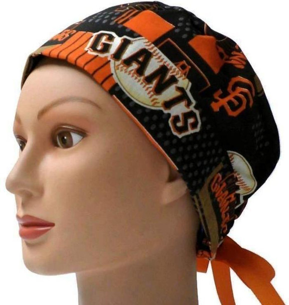 Women's Adjustable Fold-Up Pixie Surgical Scrub Hat Cap Handmade with  San Francisco Giants Allover fabric