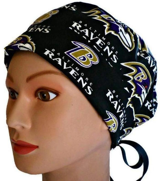 Women's Adjustable Fold-Up Pixie Surgical Scrub Hat Cap handmade with Officially Licensed Baltimore Ravens Black fabric