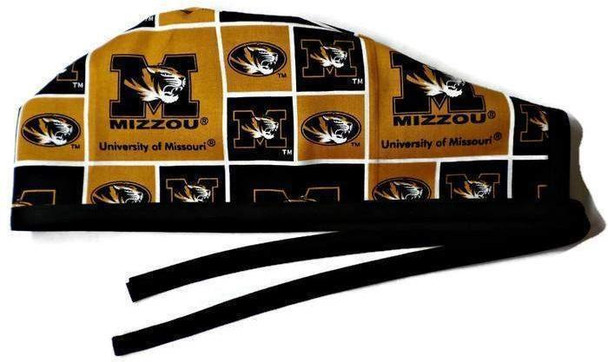 Men's Unlined Surgical Scrub Hat Cap Handmade with  Missouri Mizzou Tigers fabric