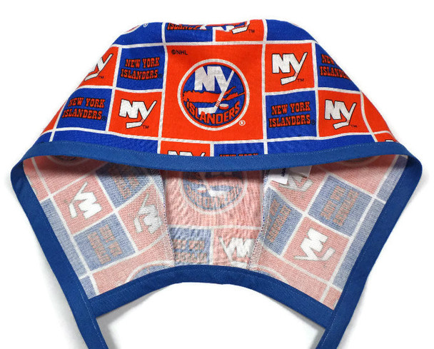 Men's Unlined Surgical Scrub Hat Cap Handmade with  New York Islanders fabric