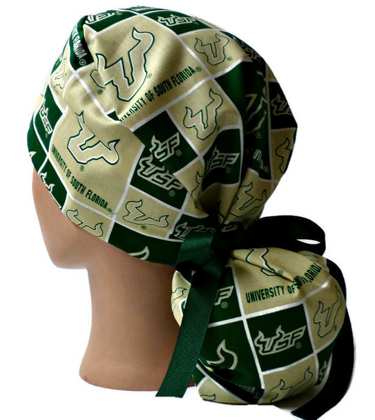 Women's Adjustable Ponytail Surgical Scrub Hat Cap Handmade with  USF Bulls fabric