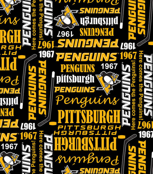 Women's Adjustable Ponytail Surgical Scrub Hat Cap handmade with Officially Licensed Pittsburgh Penguins Writing fabric