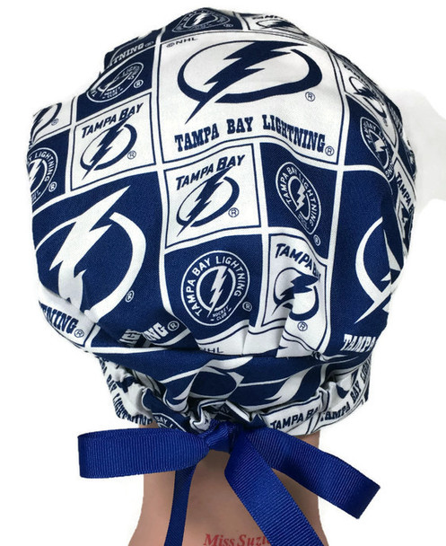 Women's Adjustable Fold-Up Pixie Surgical Scrub Hat Cap handmade with Officially Licensed Tampa Bay Lightning fabric