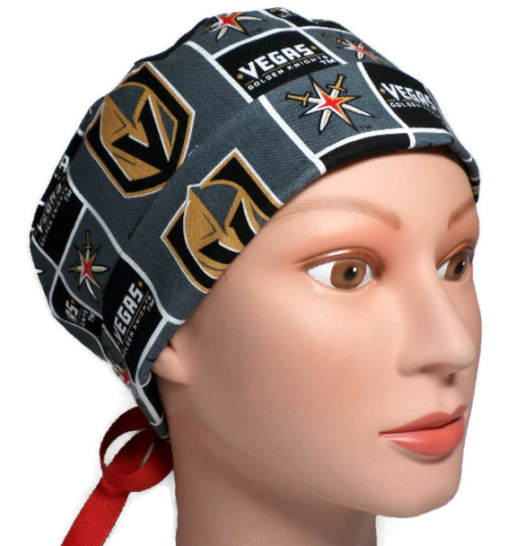 Women's Vegas Golden Knights Squares Pixie Surgical Scrub Hat, Fold-Up Brim, Adjustable with Elastic and Cord-Lock or Ribbon, Handmade