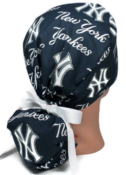 Women's Adjustable Bouffant, Pixie, or Ponytail Surgical Scrub Hat Cap Handmade with  New York Yankees Navy fabric