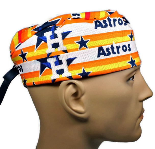 Men's Adjustable Fold-Up Cuffed or Un-Cuffed Surgical Scrub Hat Cap Handmade with  Houston Astros Stars fabric