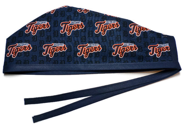 Men's Unlined Surgical Scrub Hat Cap Handmade with  Detroit Tigers Mini fabric