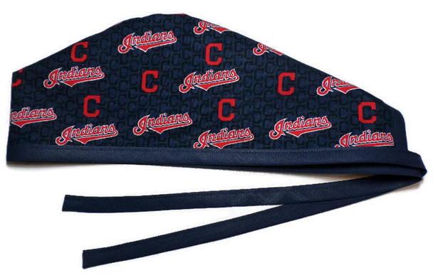 Men's Unlined Surgical Scrub Hat Cap Handmade with  Cleveland Indians Mini fabric