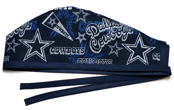Men's Unlined Surgical Scrub Hat Cap Handmade with  Dallas Cowboys Retro fabric