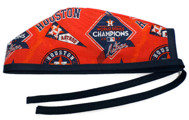 Men's Unlined Surgical Scrub Hat Cap handmade with Officially Licensed Houston Astros Champions fabric