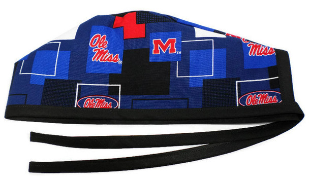 """Men's Unlined Surgical Scrub Hat Cap Handmade with  Mississippi Rebels """"Ole Miss"""" New Block fabric"""