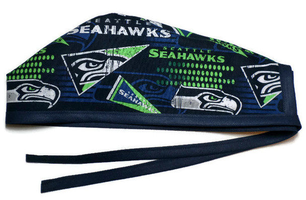 Men's Unlined Surgical Scrub Hat Cap Handmade with  Seattle Seahawks Retro fabric