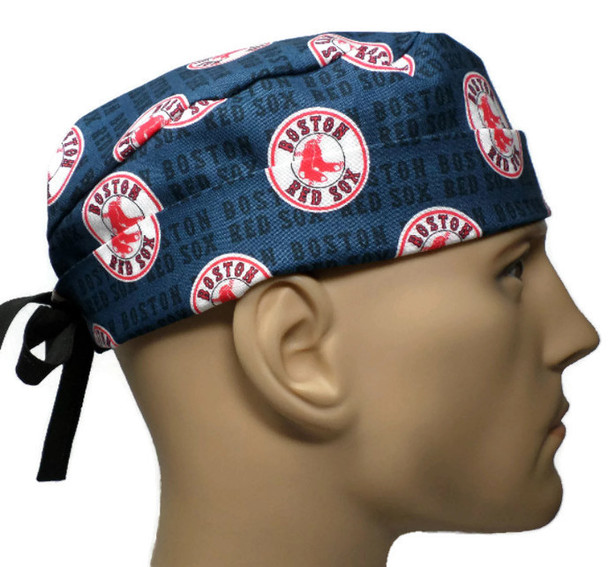 Men's Adjustable Fold-Up Cuffed or Un-Cuffed Surgical Scrub Hat Cap handmade with Officially Licensed Boston Red Sox MIni fabric
