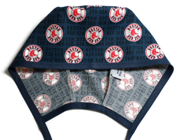 Men's Optional Sweatband Unlined Surgical Scrub Hat Handmade with  Boston Red Sox Mini fabric