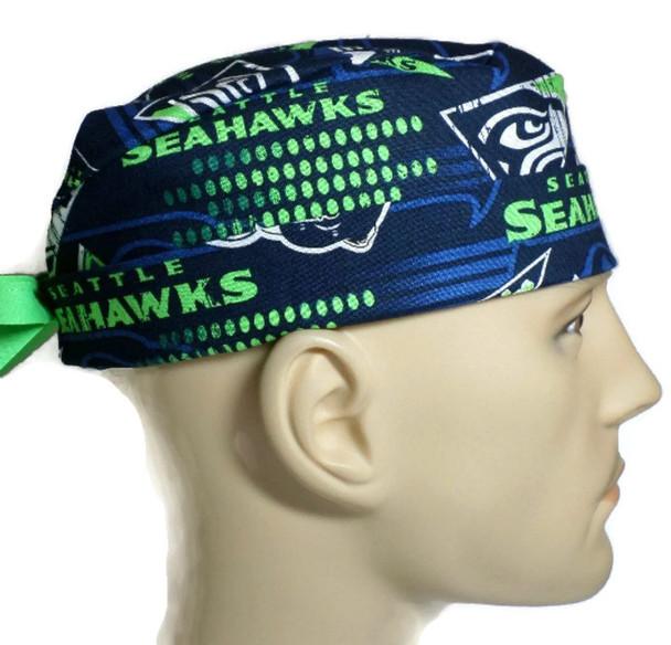 Men's Seattle Seahawks Retro Surgical Scrub Hat, Semi-Lined Fold-Up Cuffed (shown) or No Cuff, Handmade