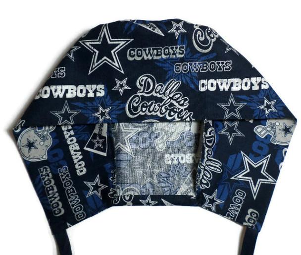 Men's Semi-Lined Fold-Up Cuffed (shown) or No Cuff Surgical Scrub Hat Handmade with  Dallas Cowboys Retro fabric