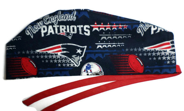 Men's Adjustable Fold-Up Cuffed or Un-cuffed Surgical Scrub Hat Cap Handmade with  New England Patriots GO PATS fabric