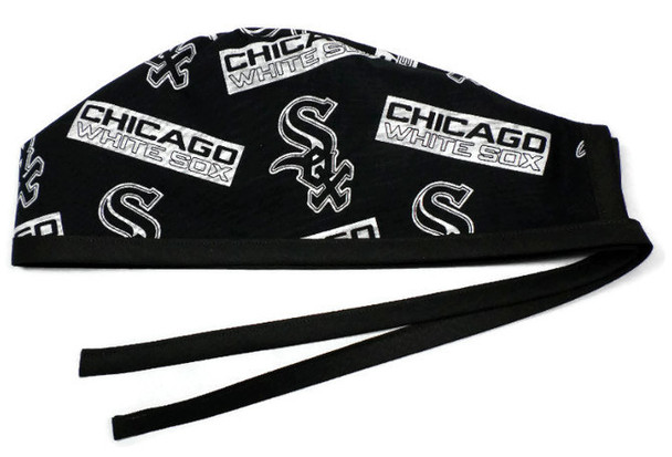 Men's Unlined Surgical Scrub Hat Cap Handmade with  Chicago White Sox Black fabric