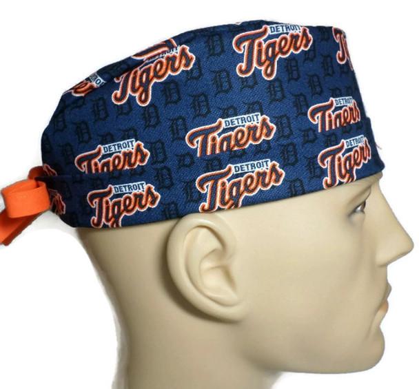 Men's Adjustable Fold-Up Cuffed or Un-cuffed Surgical Scrub Hat Cap Handmade with  Detroit Tigers Mini Print fabric
