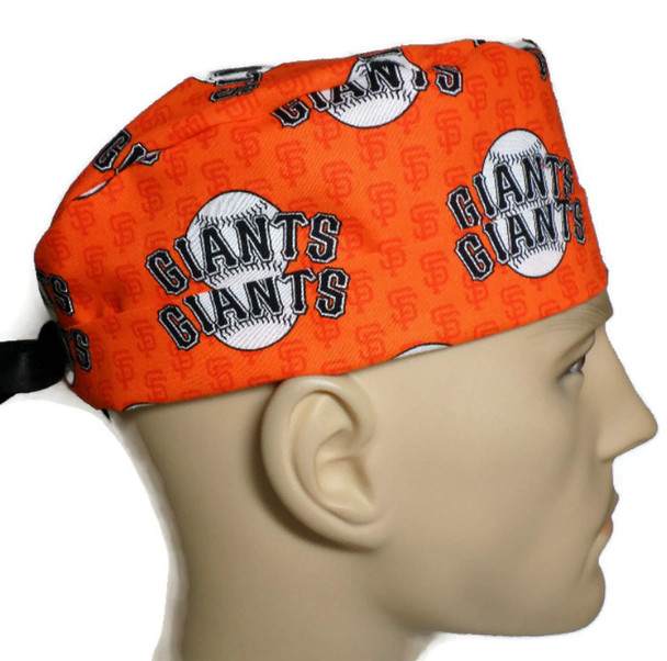 Men's Adjustable Fold-Up Cuffed or Un-cuffed Surgical Scrub Hat Cap Handmade with  San Francisco Giants Mini Print fabric