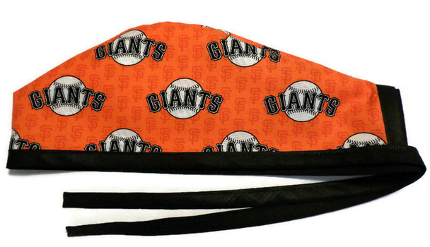 Men's Unlined Surgical Scrub Hat Cap Handmade with  San Francisco Giants Mini Print fabric