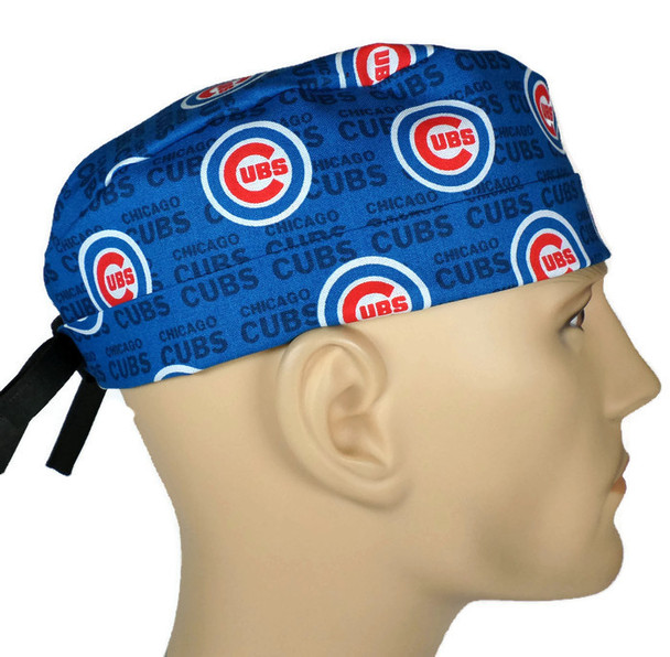 Men's Adjustable Fold-Up Cuffed or Un-Cuffed Surgical Scrub Hat Cap handmade with Officially Licensed Chicago Cubs MINI fabric
