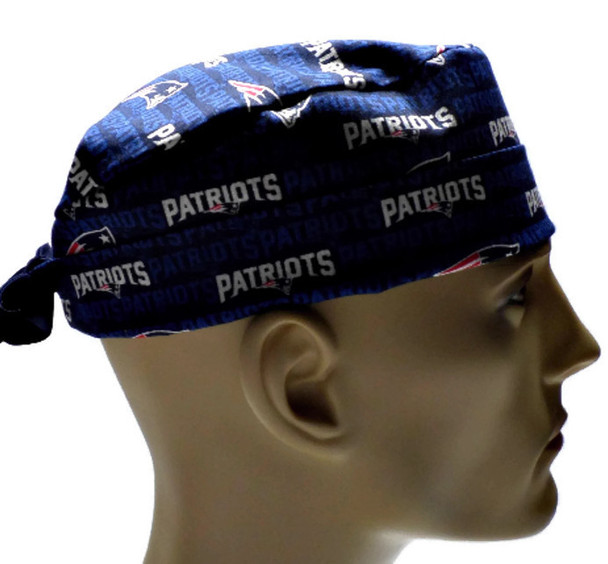 Men's Adjustable Fold-Up Cuffed or Un-Cuffed Surgical Scrub Hat Cap handmade with Officially Licensed New England Patriots Mini fabric
