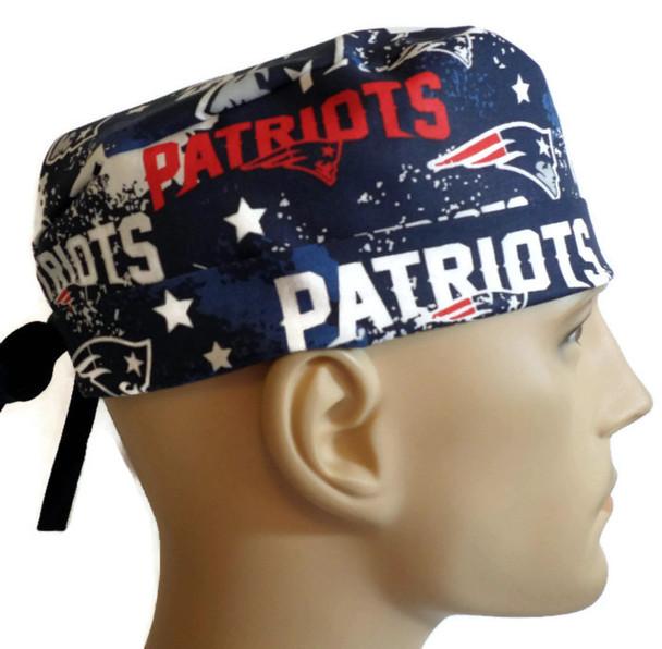 Men's Adjustable Fold-Up Cuffed or Un-cuffed Surgical Scrub Hat Cap Handmade with  New England Patriots Splash fabric