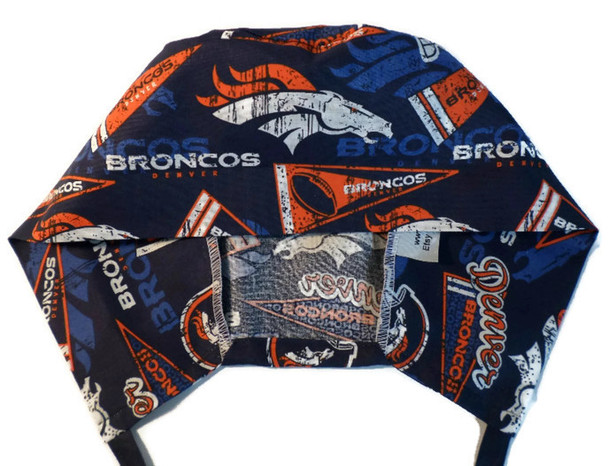 Men's Semi-Lined Fold-Up Cuffed (shown) or No Cuff Surgical Scrub Hat Handmade with  Denver Broncos Retro fabric