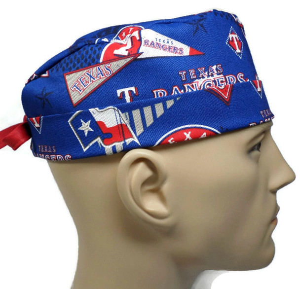 Men's Adjustable Fold-Up  Cuffed or Un-Cuffed Surgical Scrub Hat Cap Handmade with  Texas Rangers Retro Licensed fabric